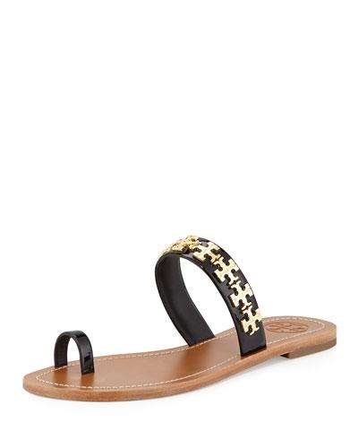 Val Patent Flat Sandal, Black