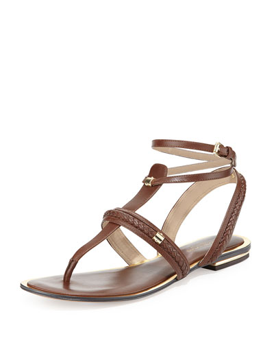 Halden Flat Leather Sandal, Nutmeg