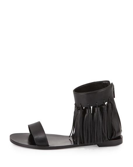 Lark Leather Tassel Sandal, Black