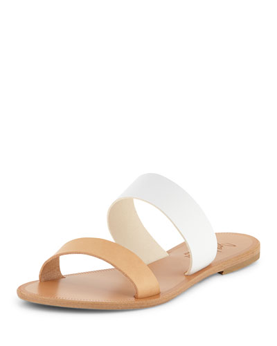 Sable Two-Tone Flat Sandal Slide, White/Natural