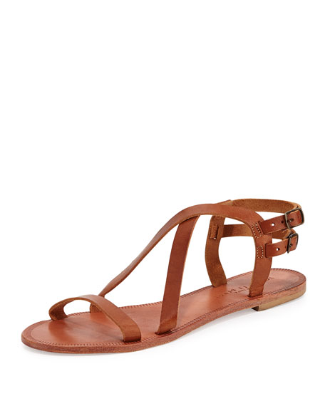 Socoa Strappy Leather Sandal, Cognac