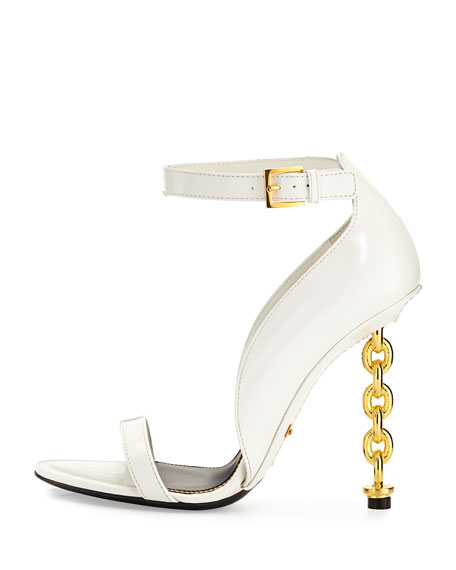 Chain Heel Leather Sandal, Chalk