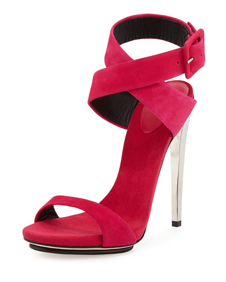 Suede Ankle-Wrap Sandal, Hot Pink