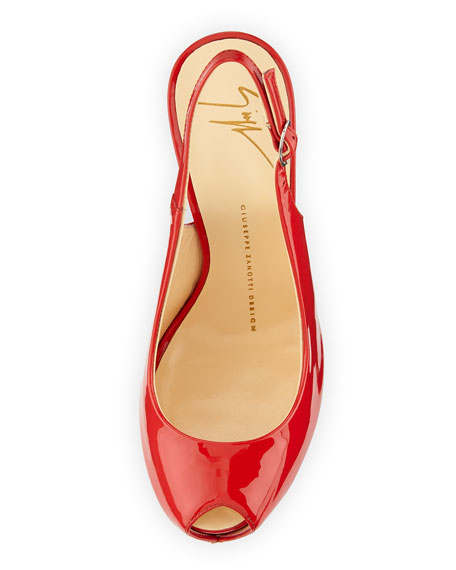 Patent Leather Slingback Sandal, Red