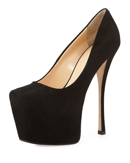 Square-Toe Platform Pump, Black