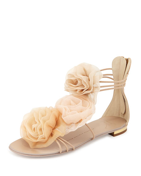 Floral-Applique Flat Sandal, Blush
