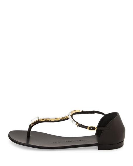 Rock 10 Crystal T-Strap Thong Sandal, Black