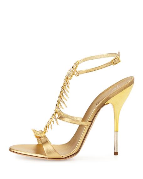 Giuseppe Zanotti Crystal Fishbone Metallic Sandal, Gold