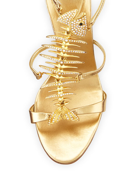Crystal Fishbone Metallic Sandal, Gold