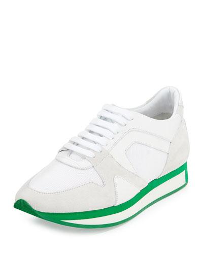 Runway Leather Field Sneaker, White/Green