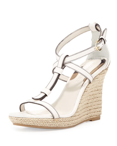 Leather/Check Wedge Sandal, Natural