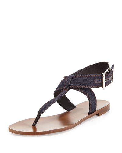 Denim Thong Sandal, Dark Indigo
