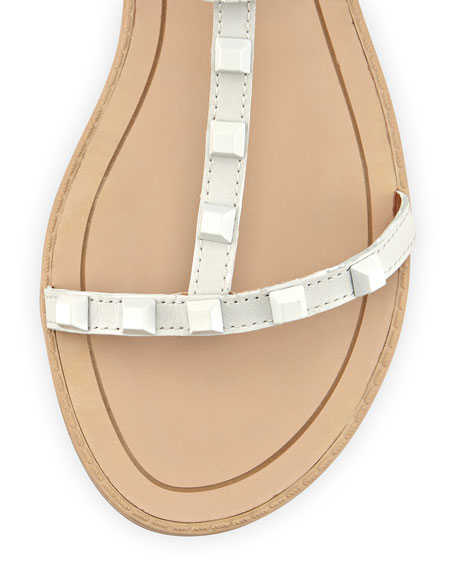 Georgina Studded Gladiator Sandal, Creme