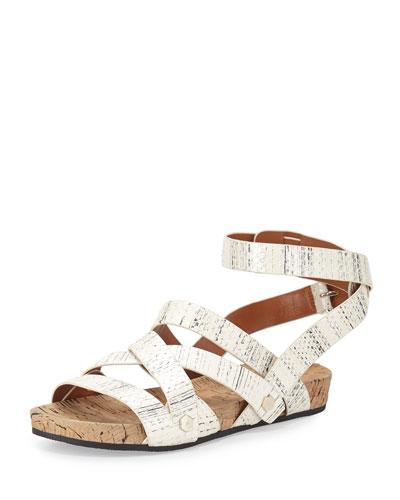 Tristen Snakeskin Strappy Sandal, Creme