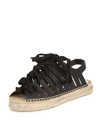 Gemma Leather Espadrille Sandal, Balck