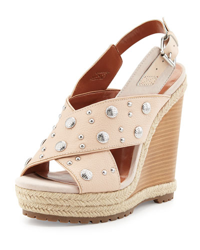 Kimiko Studded Wedge Sandal, Blush