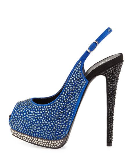 Crystal Peep-Toe Platform Slingback Sandal, Blue