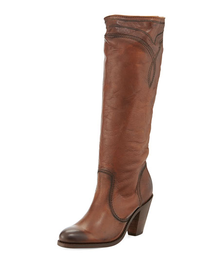 Mustang Stitched Leather Tall Boot, Cognac