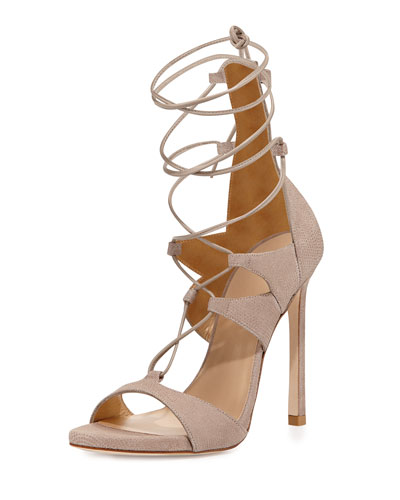 Leg-Wrap Lace-Up Sandal, Fawn