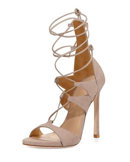 Stuart Weitzman Leg-Wrap Lace-Up Sandal, Fawn