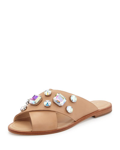 Echo Jewel-Embellished Sandal, Wheat/Pearl