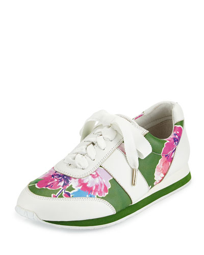 sidney floral-print trainer, lucky green