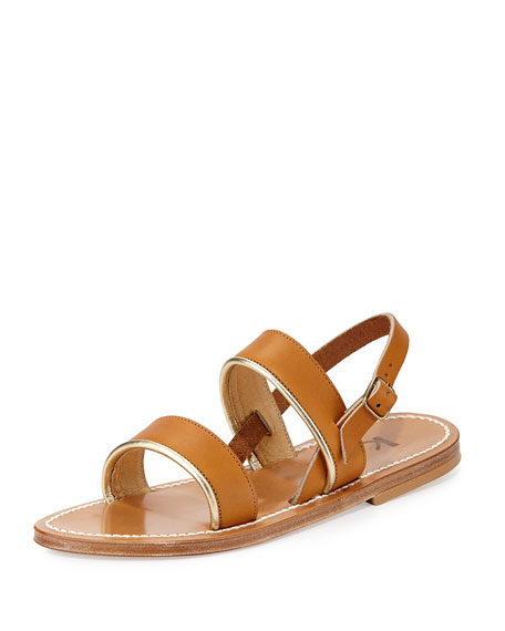 K. Jacques Barigoule Double-Band Sandal, Tan/Gold