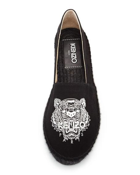 ac25346b2 Kenzo Tiger-Logo Suede Espadrille, Black | Neiman Marcus