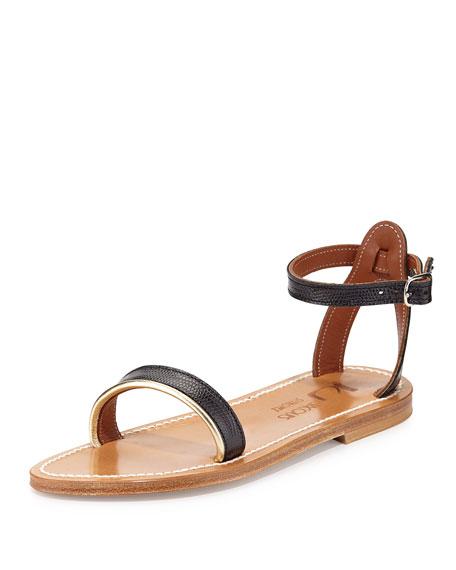 K. Jacques Laura Snake-Embossed Flat Sandal, Noir