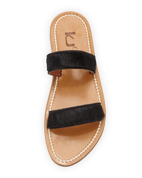 Bagatel Double-Band Slide Sandal, Horsy Noir