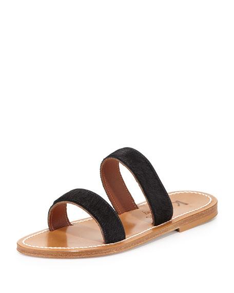 K. Jacques Bagatel Double-Band Slide Sandal, Horsy Noir