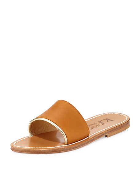 Anacapri Wide Band Slide Sandal, Pul Naturel