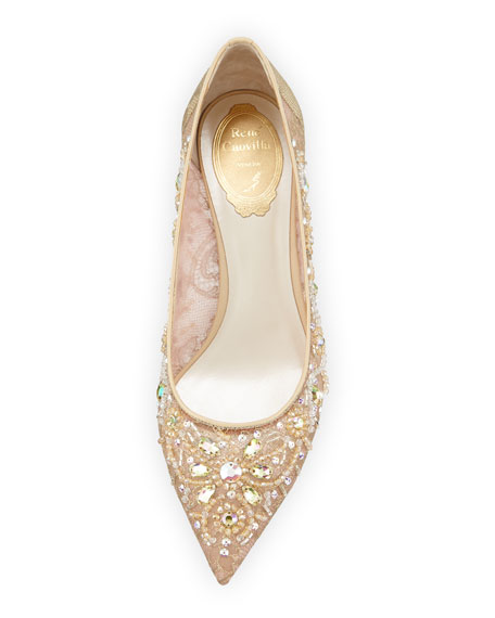 Crystal-Embellished Lace Pump, Taupe