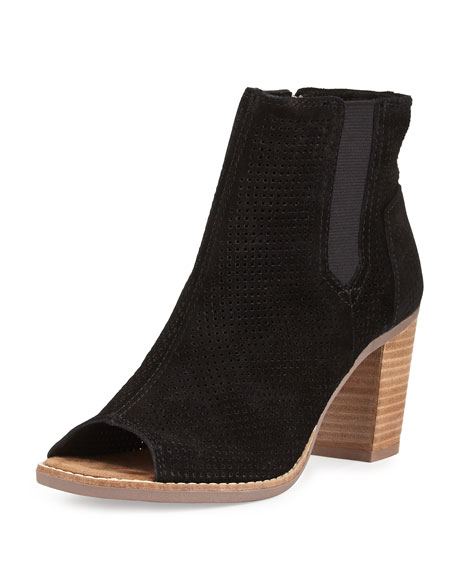 TOMS Majorca Perforated Suede Bootie, Black