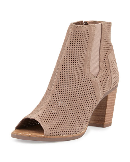 TOMS Majorca Perforated Suede Bootie, Stucco