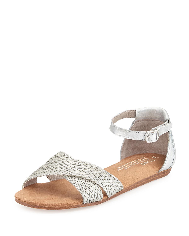 Correa Woven Leather Sandal, Silver