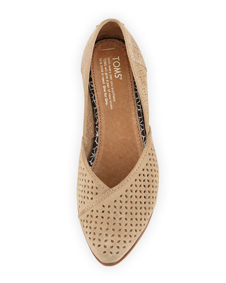 Jutti Perforated Suede Flat, Taupe
