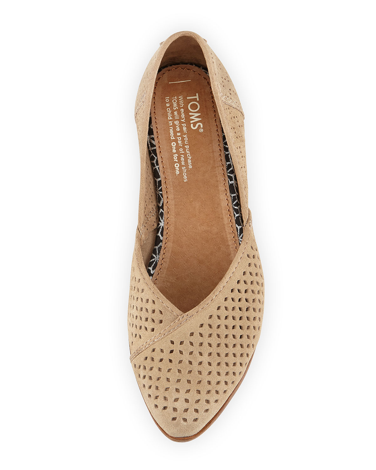 5d739fff1 TOMS Jutti Perforated Suede Flat, Taupe | Neiman Marcus