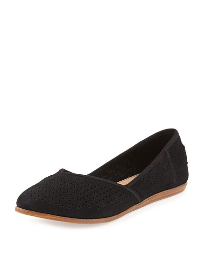 Jutti Perforated Suede Flat, Black