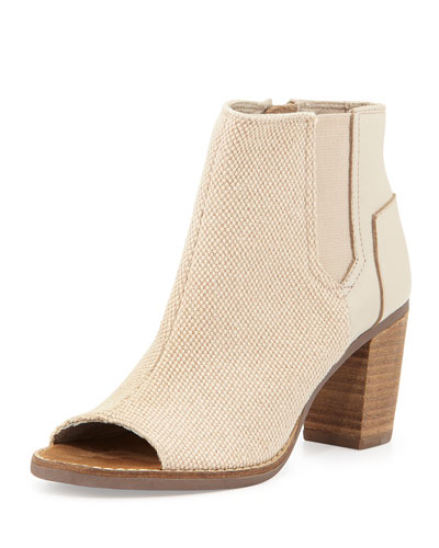 Majorca Canvas & Leather Bootie, Whisper
