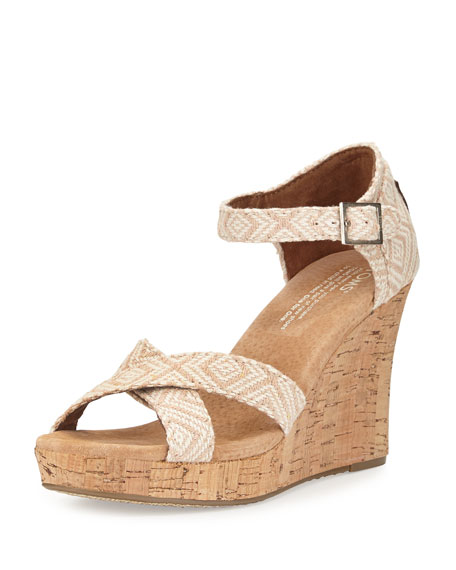 Woven Diamond Strappy Wedge Sandal, Natural