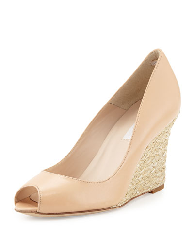 Estela Open-Toe Jute Wedge, Taupe
