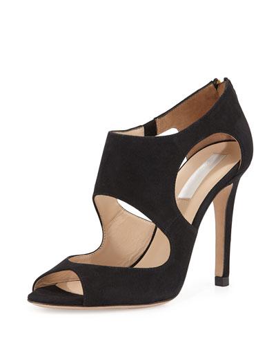 Alma Suede Cutout Sandal, Black