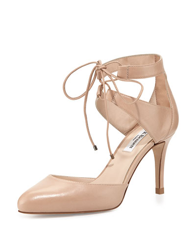Paola Leather Ankle-Tie Pump, Trench
