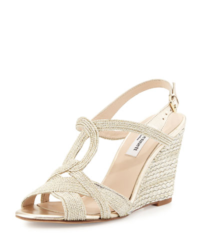 Clarissa Metallic Rope Sandal, Pale Gold