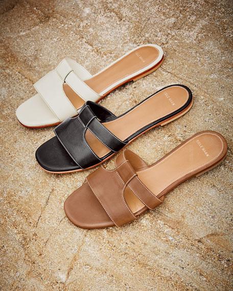 Mesi Leather Sandal Slide, Bruciato