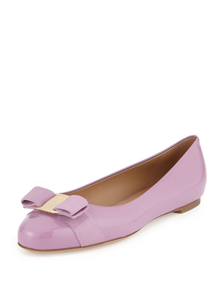 Varina Patent Bow Flat, Light Purple