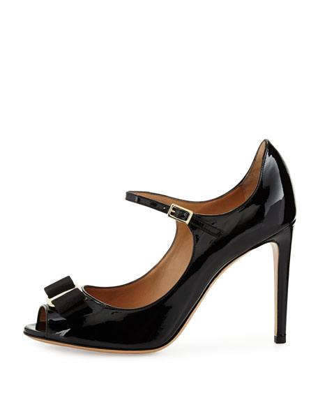 Mood Patent Peep-Toe Pump, Nero
