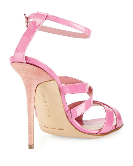 Patent Leather Strappy Sandal, Pink