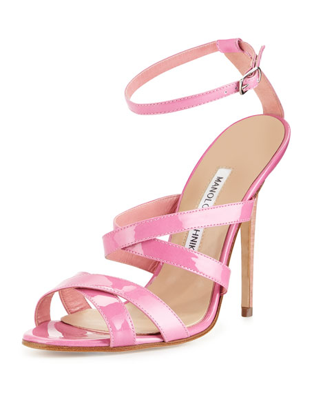 Manolo Blahnik Patent Leather Strappy Sandal, Pink